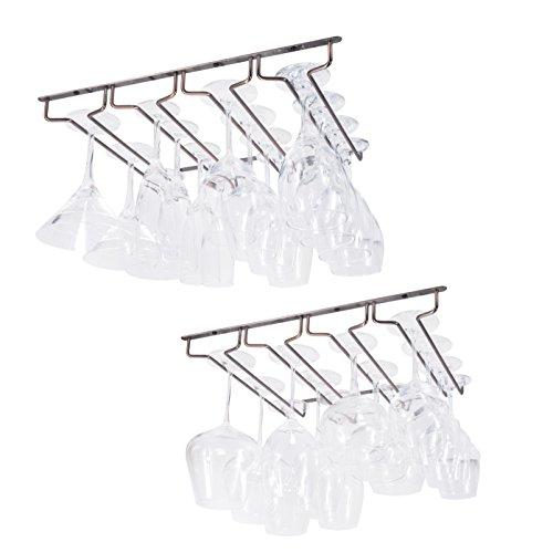 Wallniture Under Cabinet Stemware Rack - Wine Glass Storage Holder 17 Inch Set of 2 (Oil ()
