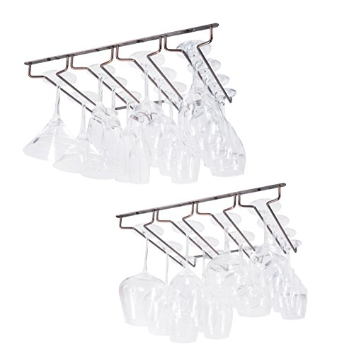 Wallniture Under Cabinet Stemware Rack - Wine Glass Storage Holder 17 Inch Set of 2 (Oil Rubbed)