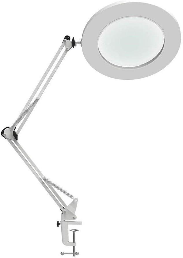 YANODA LED Tabla Lámpara De Aumento Metal Garra Giratoria De Escritorio del Brazo De La Lámpara De La Lámpara Sin Escalonamiento Atenuación 3 Colores 7W Lupa LED Energy Saving (Body Color : White)