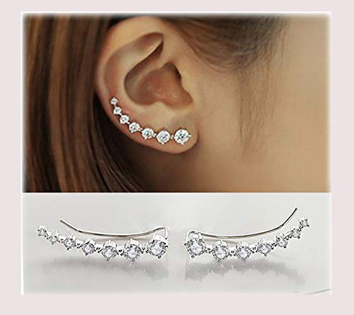Sterling Silver Sweep up Ear Pin Crawler Jackets Cuff Wrap Climber Earrings with 7 CZ Stones Simulated Diamond Ear Crawler - Cuff Earrings Hypoallergenic Stud Ear Climber Jackets (White)