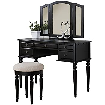 Victorian Makeup Guide & Beauty History Vanity Set with Mirror and Stool Vintage Antique Makeup Dresser for Women Table Drawer Organizer Bedroom Furniture… (Black) $269.97 AT vintagedancer.com