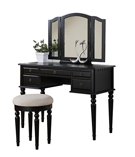 Wood Bedroom Vanity Makeup Table (Bobkona F4072 St. Croix Collection Vanity Set with Stool, Black)