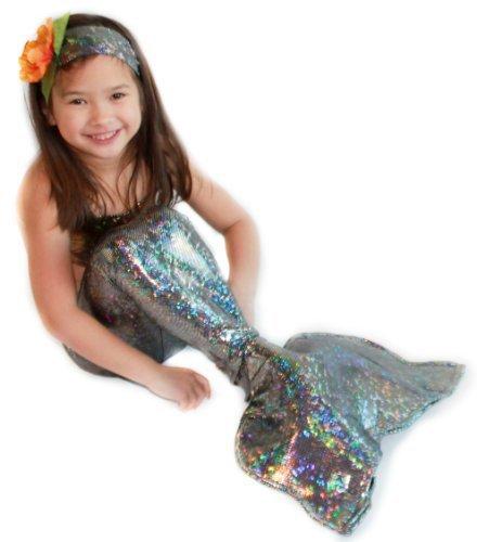 Sparkly Mermaid Tail By Applejack Apparel (Medium 5-7, Silver)