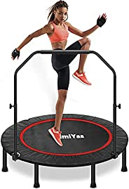 Foldable Fitness Trampoline, Edge Cover Exercise Rebounder Trampoline Indoor/Outdoor for Adult Jump Sports