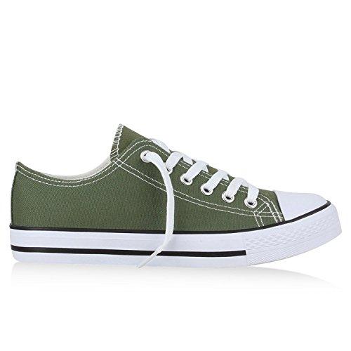 Japado Bequeme Unisex Sneakers Low-Cut Modell Basic Freizeit Schuhe Viele Farben Gr. 36-45 Olivgrün