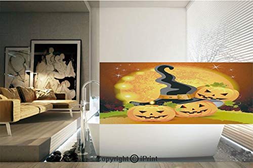Decorative Privacy Window Film/Witches Hat Spooky Pumpkins Magical Night Autumn Nature Full Moon/No-Glue Self Static Cling for Home Bedroom Bathroom Kitchen Office Decor Light Orange Green Black