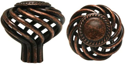 25 Antique Copper Birdcage Kitchen Cabinet Drawer knobs 35mm