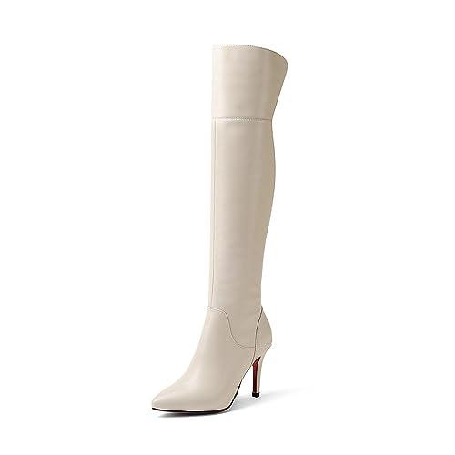 0d43c0898e7 Nine Seven Cuero Moda Puntiagudas Botas Largas de Tacón de Aguja Sólido de  Vestir para Mujer