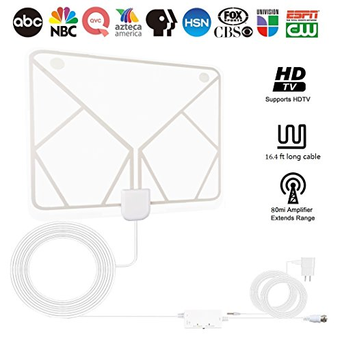 - HDTV Antenna,ZAMO Indoor Amplified HD Digital TV Antenna 60-80Miles Long Range with Powerful HDTV Amplifier Signal Booster - 16.5ft Coax Cable & Power Adapter-White