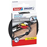 Tesa On and Off Universal Cable Manager - 10mm x 500cm, Black