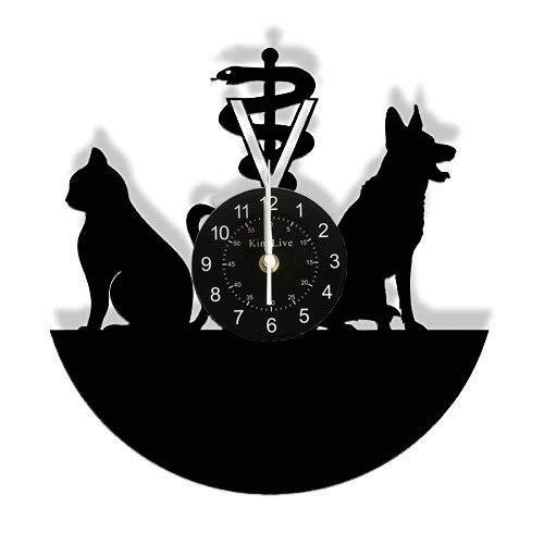 (Veterinary Clinic Veterinarian Wall Clock Dog and Cat Care Veterinary Hospital Vinyl Record Wall Clock Animal Lovers Vet Gifts )