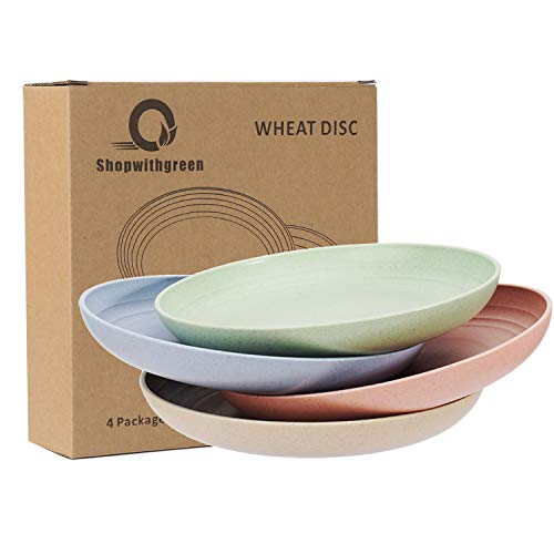 Shopwithgreen Lightweight Wheat Straw Plates - 4 Pack 7.8' Unbreakable Dinner...