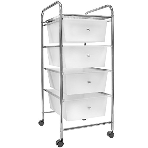 Sorbus 4 Drawer Organizer Rolling Cart —Features Storage Bins on Wheels—Great Organizer Cart for Home, Office, Classroom, Teaching Supplies and more (White)