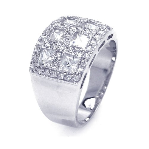 Sterling Silver Rhodium Plated Clear Square Pave CZ Cigar Band Bling Ring Size 8 - Rose Gold Cigar Band Ring