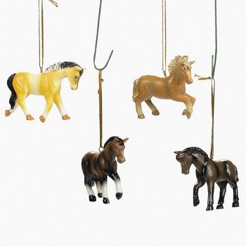 Set of Four Resin Horse Ornaments Christmas Tree Holiday Western Decor