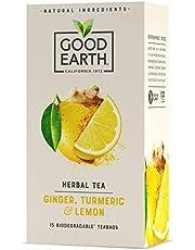 Good Earth Ginger, Turmeric & Lemon Herbal Tea, Biodegradable Tea Bags, Ginger, Turmeric & Lemon Herbal Tea, 15 Count