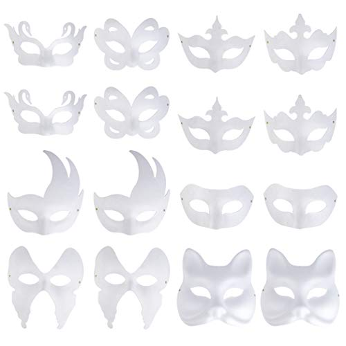 Miayon White Mask, 16PCS DIY Plain Mask Unpainted Masquerade Masks Half Face Mask for Halloween Cosplay Mardi Gras Decorating Party -