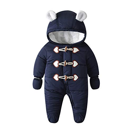 Yuwao Baby Snowsuit Winter Romper Warm Overall Katoen Jumpsuit Lange Mouw met Handschoenen Hooded Pramsuit Onesies…