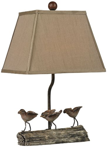 Sterling 93-19300 Altura Composite Little Birds on a Log Table Lamp with Light Taupe Faux Silk Shade, Cedar Pond (Accents Cedar Log)