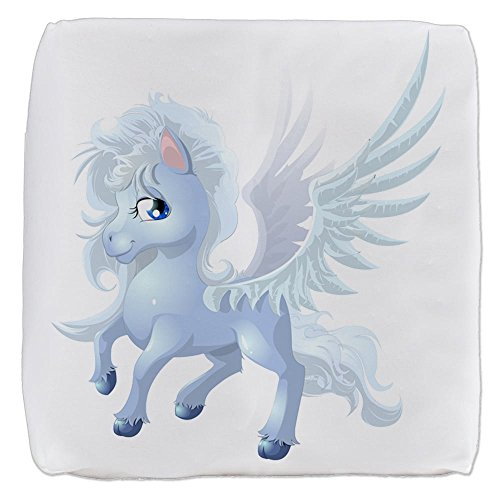 (18 Inch 6-Sided Cube Ottoman Cartoon White Winged Pegasus)