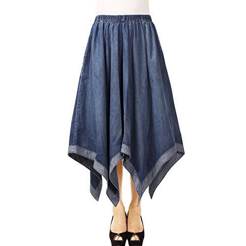 NONOSIZE Women's Long Flared A-line Casual Elastic Waist Pleated Handkerchief-Hem Plus-size Denim Maxi Skirt with Pockets