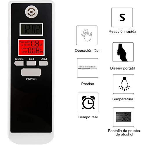 bedee Probador de Alcohol en Aliento Profesional de Alta precisión - Alcoholímetro portátil Detector de Alcohol Digital