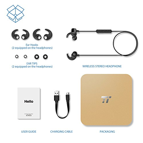 taotronics bluetooth in ear headphones wireless earbuds sports magnetic earphones with built in. Black Bedroom Furniture Sets. Home Design Ideas