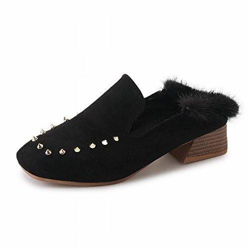 und High Baotou schwarz Seite Schuhe der Schuhe Absatz mit EUR37 mit Einzelne Füße Hausschuhe den Damenschuhen hohem Kopf dicken Pelzwolle mit quadratischem Heel 0w77Iq1H