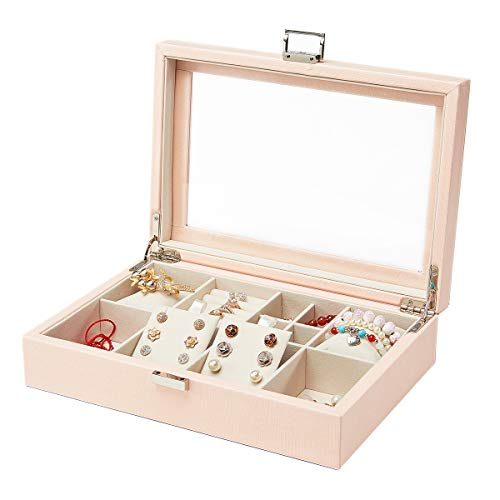 - Vlando Jewelry Trays Display Box Organizer with Glass Lip Velvet Organizer, Wooden Jewelry Storage Case for Bracelets, Earrings, Rings, Necklaces, Brooches, Watch Gift for Women Girls (Pink)
