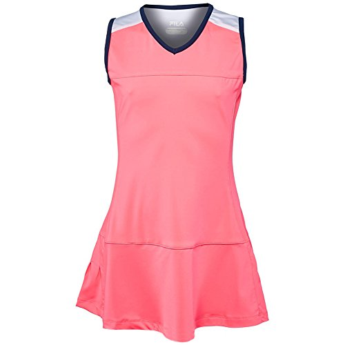 Fila Girl's Down The Line Dress, Coral Cake, Navy, White, L