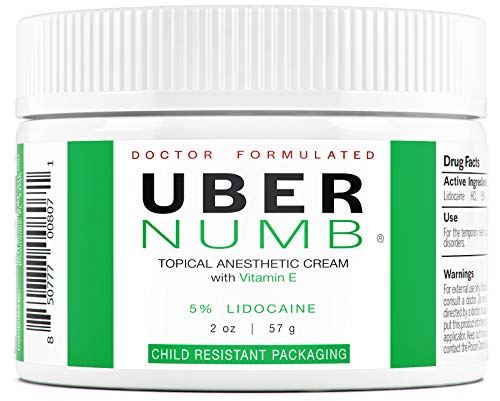 Uber Numb (2 oz) 5% Lidocaine Pain Relief Cream, Lidocaine Ointment, Numbing Cream Made in USA