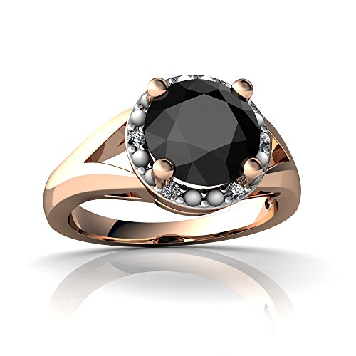 14kt Gold Black Onyx and Diamond 8mm Round Halo Split Band Ring