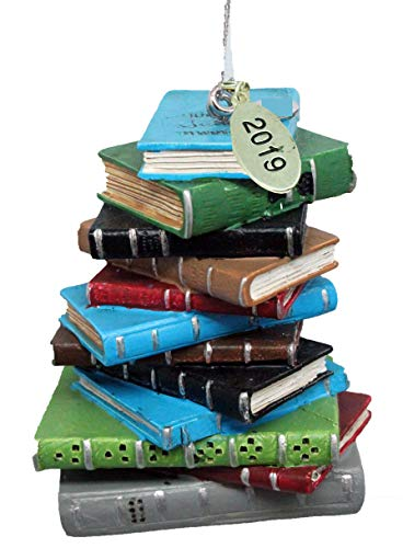 Twisted Anchor Trading Co 2019 Bookworm Ornament, Library Ornament, Librarian Christmas Ornament or Teacher Gift - Stack of Books (Ornaments Book Christmas)
