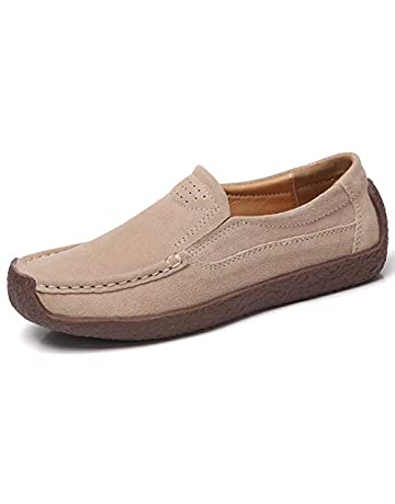 ae15d544d32 ALLY UNION MAKE FORCE Women s Casual Slip-on Loafer Comfortable Suede Flat  Driving Shoes