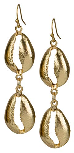 SPUNKYsoul Double Cowrie Shell Gold Earrings for Women (Gold)