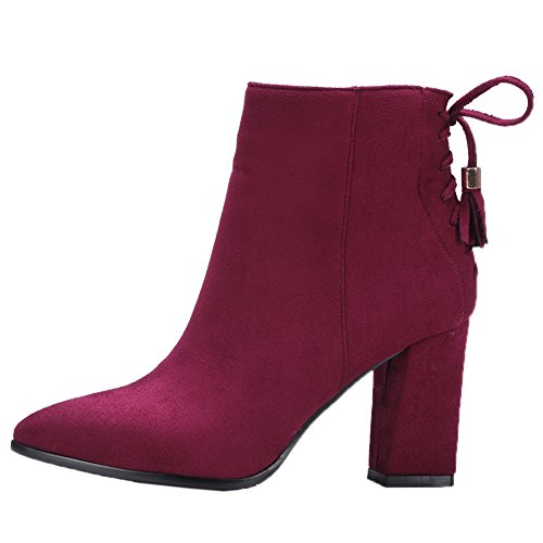 Royou Chunky Heel Boots Red Up Yiuoer Boots High Ankle Tassel Women Lace Suede qFrqfBv