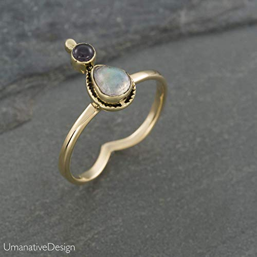 - Boho Gold Brass Ring With Rainbow Moonstone and Natural Blue Iolite Stone, Unique Tribal Oval Stone Ring, Hippie Ethnic Handmade Natural Stone Ring, Size 7, Tribal Jewelry For Women