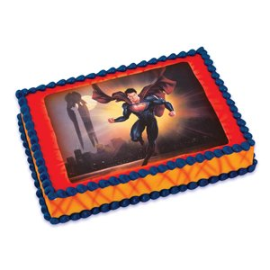 Superman Edible Cake Images : Amazon.com: Superman Man of Steel Edible Icing Cake Topper ...