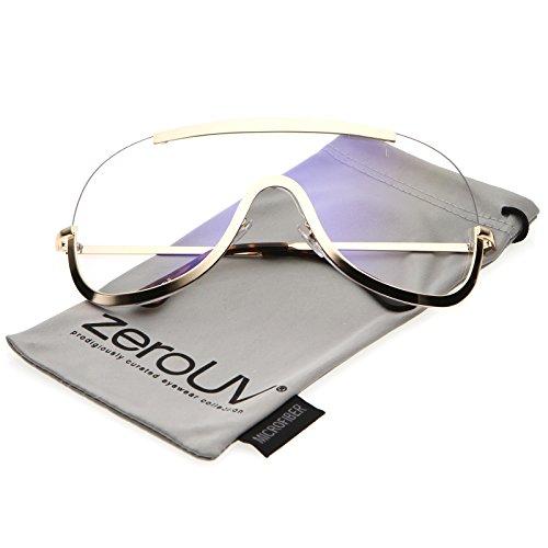 zeroUV - Oversize Semi Rimless Metal Trim Clear Mono Lens Shield Eyeglasses 78mm (Gold / - Gold With Trim Eyeglasses