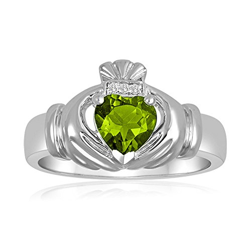 Men's Simulated Peridot Claddagh Ring in Sterling Silver - Size 8