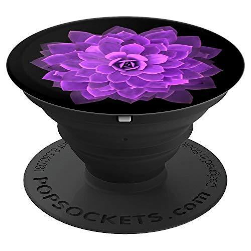 Purple Cactus Flower Cellphone Holder Socket Car Mount Black - PopSockets Grip and Stand for Phones and Tablets (Knob Flower Petal Design)