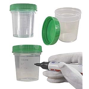 25 x Envase de la orina 125 ml / Color: Natural / Tapón de rosca: Verde / con Graduación / higiénico embalado / con… 16
