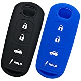 Alegender Qty(2) Smart Key Fobs Remote Covers Case Holder Jacket Skin for 2017 2018 Mazda CX-5 CX5 6 3 Miata MX5 Smart 4 Buttons Keyless Entry