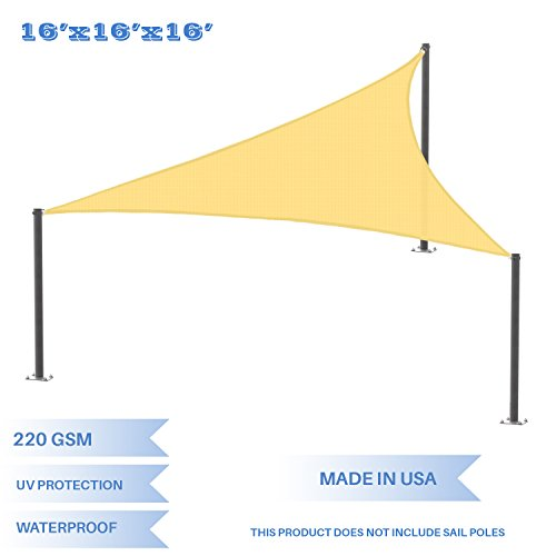 E K Sunrise 16 x 16 x 16 Waterproof Sun Shade Sail-Yellow Equilateral triangle UV Block Durable Awning Perfect Canopy Outdoor Garden Backyard-Customized