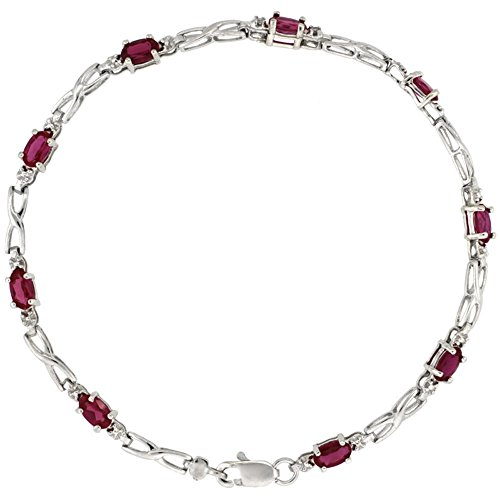 10k White Gold XOXO Hugs & Kisses Tennis Bracelet 0.05 ct Diamonds & 2.25 ct Oval Created Ruby, 1/8 inch (Kisses Diamond Tennis Bracelet)