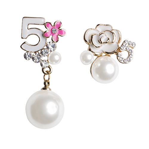 MISASHA Faux Imitation Pearl Turquoise Blue Floral Dangle Drop Earrings Studs (Pink)