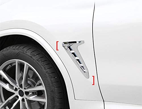 HOTRIMWORLD ABS Chrome Front Fender Side Air Vent Outlet Trim Cover 2pcs for BMW X3 X4 G01 G02 2018-2019