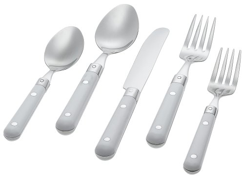 Ginkgo International Le Prix 20-Piece Stainless Steel Flatware Place Setting, White, Service for 4