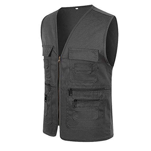 2019 Men's Activewear, Champion Hoodies for Men,Men Zipper Casual Multi Pocket Sleeveless Jacket Coat British Suit Vest ()
