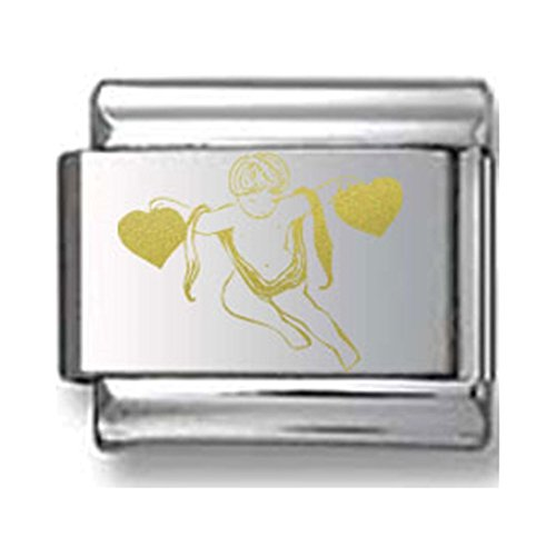 Angel with Two Hearts Gold Laser Italian Charm